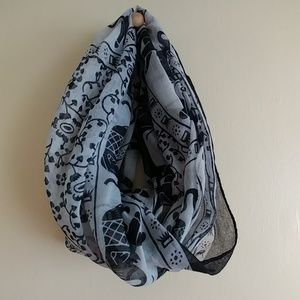Accessories - Black and White Lucky Elephant Infinity Scarf